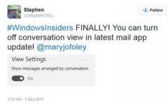 Windows 10系统电子邮件客户端可关闭对话视图