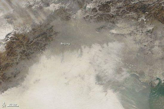 NASA从太空拍摄雾霾笼罩下的中国