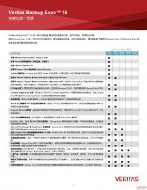 Veritas Backup Exec 16 功能比较一览表