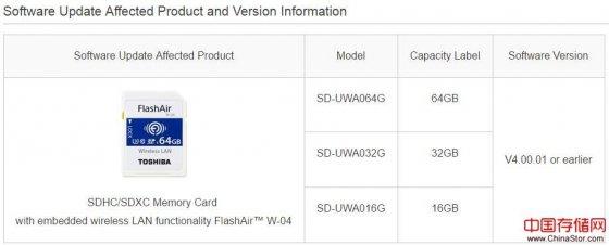 东芝发声明称旗下FlashAir存储卡存在安全漏洞