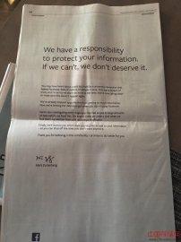 Facebook扎克伯格用四大报广告向用户道歉:有责任保护你们的信息