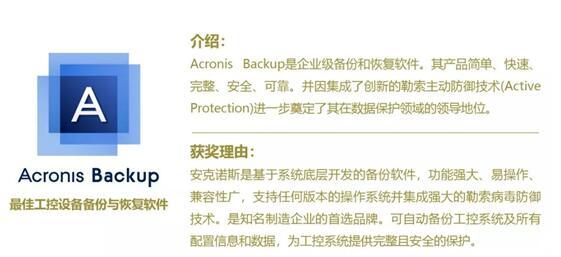 2018年度中国存储市场影响力排行榜揭晓,Acronis Backup荣获最佳工控设备备份与恢复软件