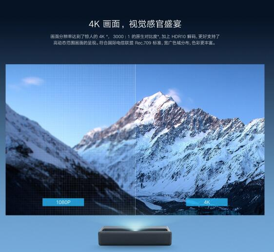 激光投影电视新品:米家1S 4K版发布:可投150寸、光源寿命17年