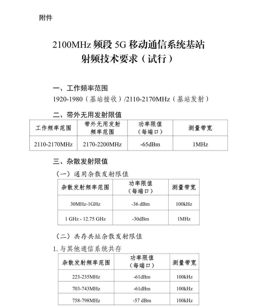 工信部发布《2100MHz频段5G移动通信系统基站射频技术要求(试行)》